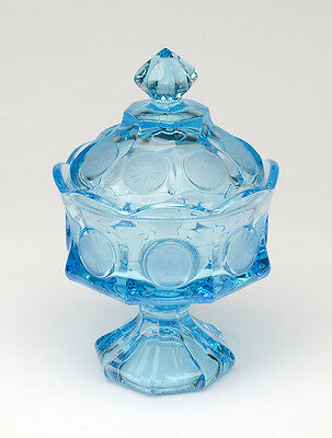 Fostoria Coin Blue Vintage small Compote with Lid