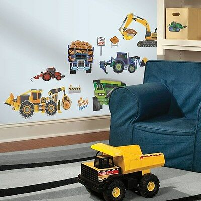 New HEAVY CONSTRUCTION VEHICLES WALL DECALS Dozers & Trucks Stickers Boys Decor