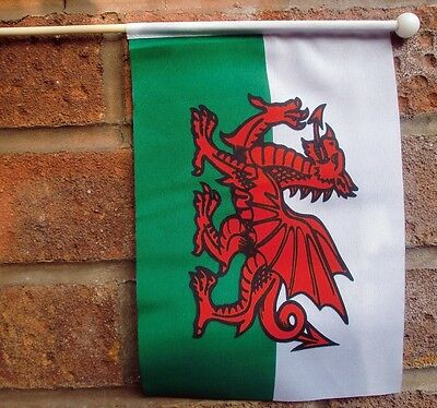"WALES HAND WAVING FLAG medium 9"" X 6"" wooden pole flags WELSH DRAGON"