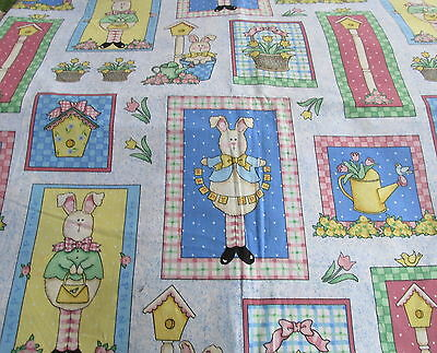 Daisy Kingdom Happy SPring Easter cotton fabric collage Bunny Patch half yard