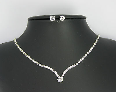 Collana + Orecchini Per Sposa Placcati Argento Con Swarovski Wedding Necklace