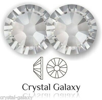 Swarovski Flat Back Crystals CLEAR 2058 No Hot Fix ALL SIZES Platinum Foiled