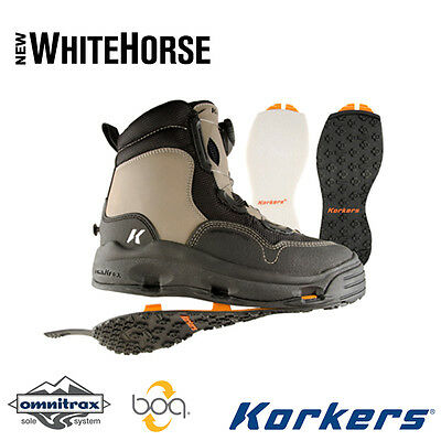 Size 10 Korkers Whitehorse Wading Fishing Boot Felt + Kling-On Rubber 2 Soles