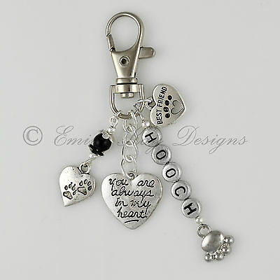 Pet Loss/Memorial Rainbow Bridge 'Best Friend' Heart Personalised Key/Bag Charm