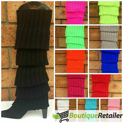 Pair of Womens Leg Warmers Disco Winter Knit Dance Party Crochet Legging Socks