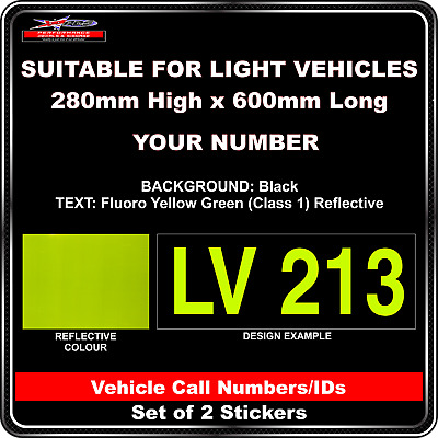 Hi Vis Light Vehicle Call Number/ID Class 1 (Black/Fluoro YellowGreen)- 2Sticker