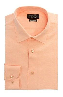 Tailored / Slim Fit Mens Peach Dress Shirt Wrinkle-Free Spread Collar AZAR MAN