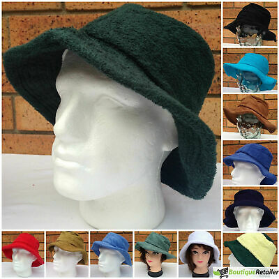 Terry Towelling BUCKET HAT Daggy Fishing Camping Lad Cap Retro New 100% COTTON