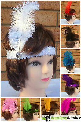 1920s FLAPPER HEADBAND Headpiece Feather Sequin Charleston Costume Gatsby Dance