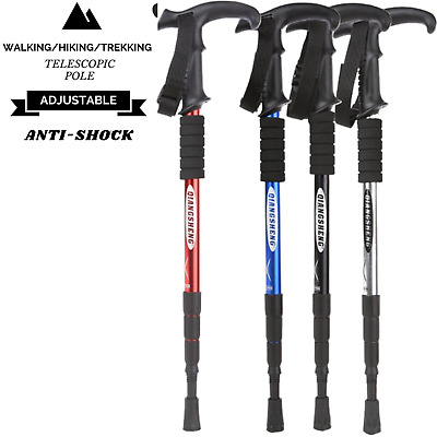 Folding Walking Stick Telescopic Adjustable Antishock Hiking Grip Pole Trekking