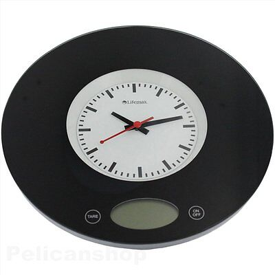 KITCHEN SCALE ANALOUGE CLOCK WALL MEASURING FEATURE Inc. TARE GRAMS & OZ 3kg