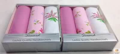 6X SEWARD Ladies Handkerchiefs Hankies Women's 100% COTTON Hanky Gift Pack