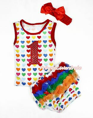 Hot Red Sparkle 1ST Rainbow Heart Pettitop Newborn Baby Ruffle Bloomer NB-12M