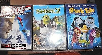 Lot Of 3 Kids Dvd's - Shrek 2, Shark Tale, G.i. Joe Spy Troops The Movie
