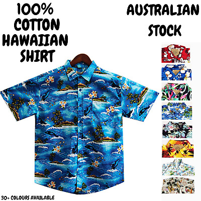 HAWAIIAN SHIRT Mens Beach 100% COTTON Surf Party Short Sleeve Vintage S-6XL New