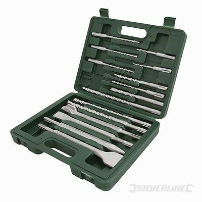 Sds Plus + Masonry Drill & Steel Set 15 Pce Piece In Sturdy Case (196570)