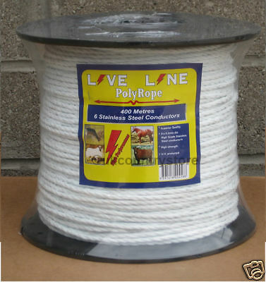 6MM TURBOMAX ELECTRIC ROPE 400m Rolls Fence Fencing R6-PE Horse Black White