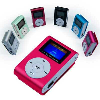 Mini Lettore MP3 Player LCD Clip USB Supporta Micro SD 32Gb Card Rosa FM RADIO