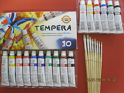 SET 10er SCHULMALFARBEN TUBE TEMPERA-FARBEN MALFARBEN +7er SET PINSEL MALPINSEL