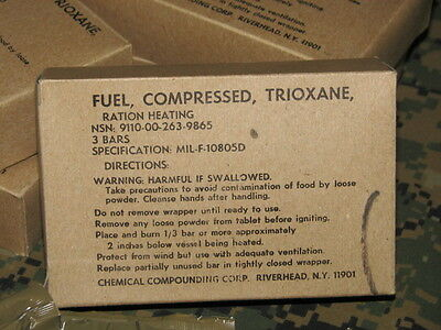 trioxane fire starter military issue large box w/ 3 tablets compressed fuel