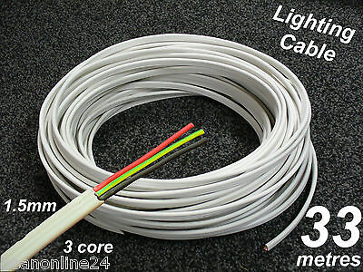 33M Roll x 1.5mm Electrical Cable Flat 3 core (2C + E) TPS for lighting circuits