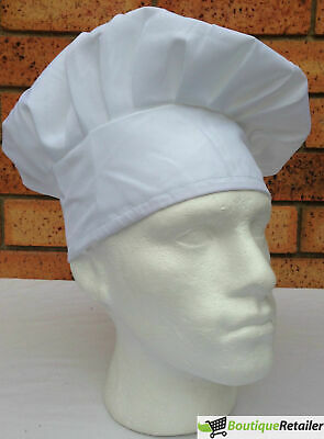 ADULT CHEFS HAT White Kitchen Cooking Baker Cap Chef Party Cotton Blend BBQ