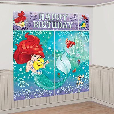 LITTLE MERMAID SCENE SETTER Happy Birthday Party Wall Decoration DISNEY ARIEL