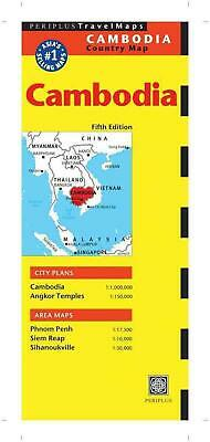 Cambodia Country Map by Periplus (English) Folded Book Free Shipping!