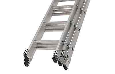 Aluminium 4m Trade En131 Triple 3 Section Extension Ladders 6 Rung Youngman