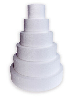 Cake Dummy Round Straight Edge Polystyrene Icing 2 3 4 & 5 inch Depth All Sizes