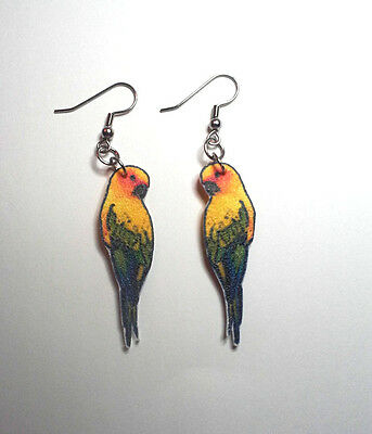 Sun Conure Parrot Earrings Handcrafted Plastic Made in USA