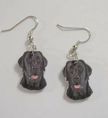 Black Labrador Retriever Earrings Handcrafted Plastic Made in USA