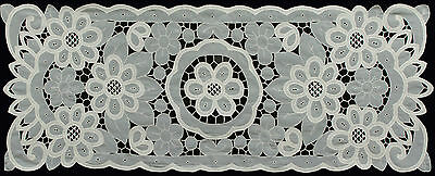 """Battenburg Lace with Sheer Sunflower Floral Table Runner 15x44"""" BEIGE New #3082"""