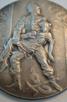 FRANCE-1903-Firefighters-Art Nouveau Silvered Bronze Medal