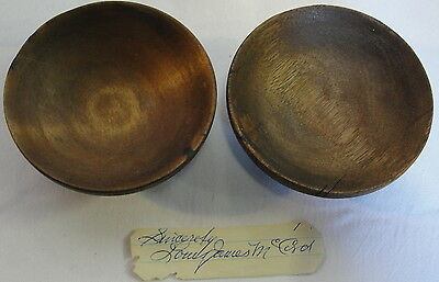 """2 Wooden Bowls, Made By """"silent Mora"""", Magician, 1930's, With Signature"""