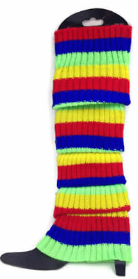 RAINBOW LEG WARMERS Stocking Ribbed High Knitted Socks Girls Dance 80s Party