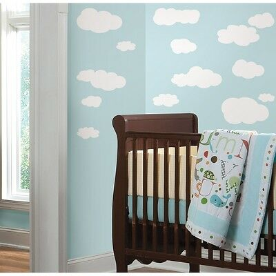 19 New WHITE CLOUDS WALL DECALS Baby Nursery Sky Stickers Kids Room Decorations