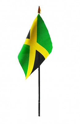 JAMAICA flag PACK OF TEN SMALL HAND WAVING FLAGS Jamaican Caribbean West Indies