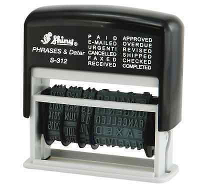 Self Inking Ink 12 in 1 Rubber Date Stamp PAID, E-MAILED, URGENT!, CANCELLED