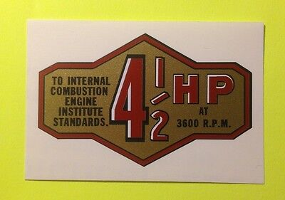 Briggs & Stratton 4-1/2-hp banner decal late 50's Internal Combustion Standards