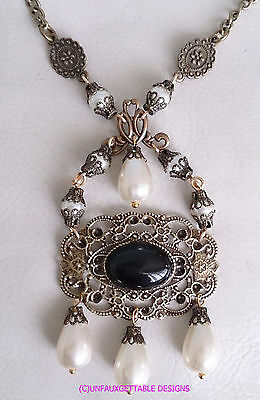 Tudor Gothic Jet & Pearl Filigree Drop Necklace Renaissance Larp Sca