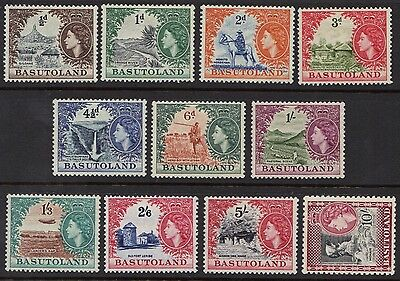 STAMPS  from  BASUTOLAND  1954 Q. ELIZ. 1/2d to 10/- (MINT/MLH)  lot (BC21)