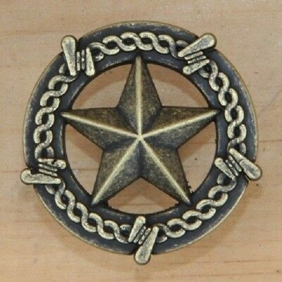 Antique Brass Texas Star Barbwire Drawer Pull Cabinet Knob w/Screw NEW