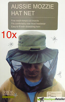 10x Mosquito Hat Net Head Protector Bee Bug Mesh Insect Mozzie Fishing Fly BULK