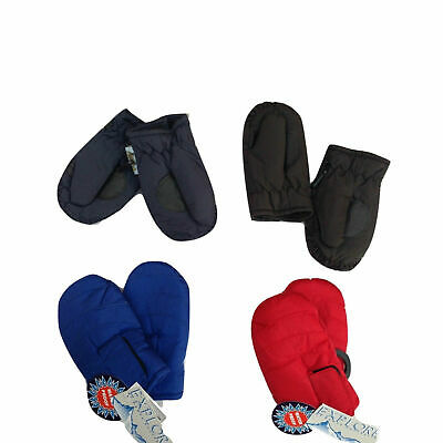 KIDS SKI GLOVES Mittens Waterproof Thermal Winter Snow Boys Girls Plain Lined