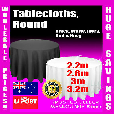 Tablecloths Wedding Round Event Party Black White Ivory Table Cloth Trestle