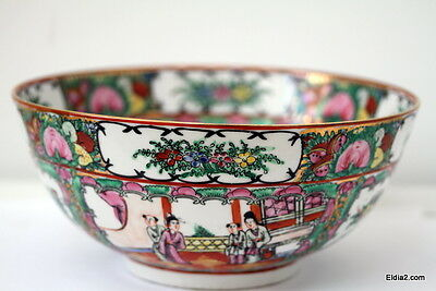 Antique  Chinese Rose Medallion bowl 10 inches in diameter signed
