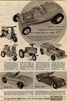1965 ADVERT Sears Toy Cars Futuristic Sport Car 1937 Cord Corvette Sting Ray