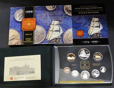 1999 Proof Double Dollar Set - Canadian 8-Coin Set - Case, Box & Certificate