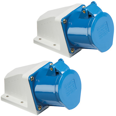 2x 32 Amp 3 Pin Angled Surface Socket 220 - 250V 2P+E Weatherproof IP44 32A 240V